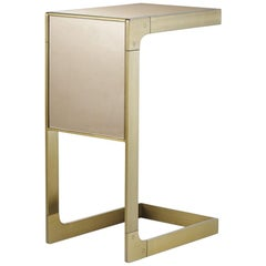 Sturdy Small Side Table in Satin Brass Finish