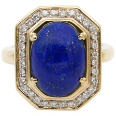 Sturdy Vintage Diamond Lapis Cocktail Ring Heavy 18 Karat Gold