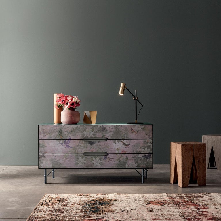 This long chest of drawers updates a Classic style with a stunning printed front, complete with flowers and birds in warm dusty hues. Its three drawers provide ample storage space, opening with sleek cutout handles. Finished with iron feet for a