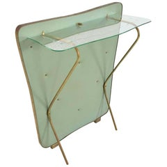 Gio Ponti Style Sculptural Floating Glass Wall Console Ethereal Mint Green 1950s