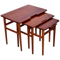 Sculpted Modern Solid Teak Nesting Tables Set of Three 1950s Denmark