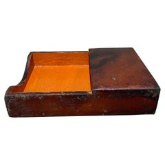 Style Hermes Leather Wrapped Memo Note Pad Holder Desk Accessory 1950s Vintage