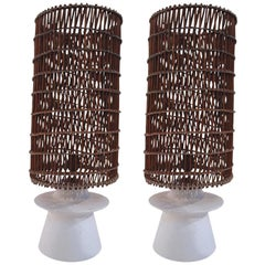 Style Jean-Michel Frank Pair of Lamps, Plaster and Wicker, circa 1950, France
