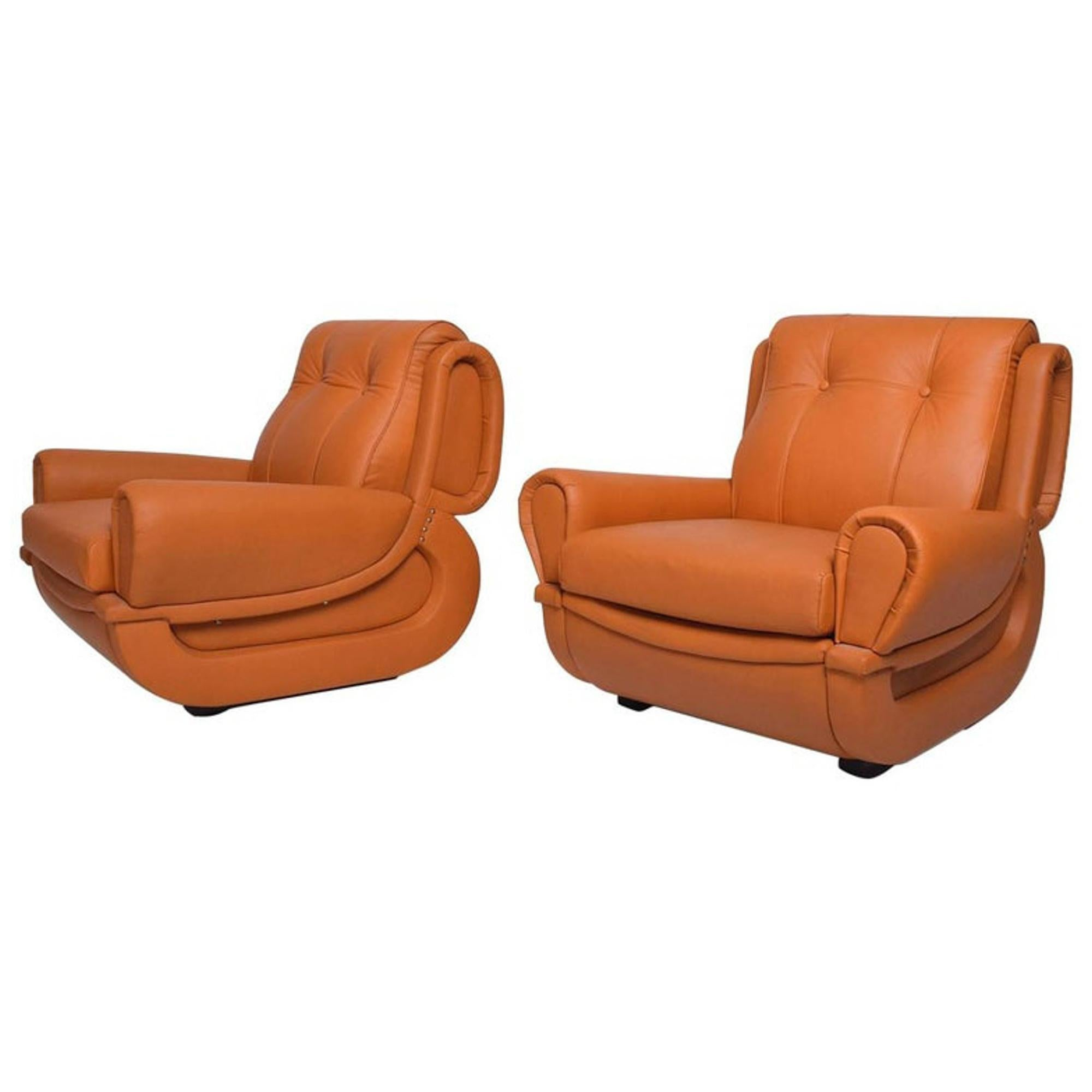 Style of Jean Michel Frank Leather Art Deco Chairs by Guiseppe Munari Italy 1960