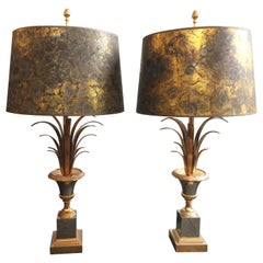 Vintage French Wheat Reed Mixed Metal Table Lamps