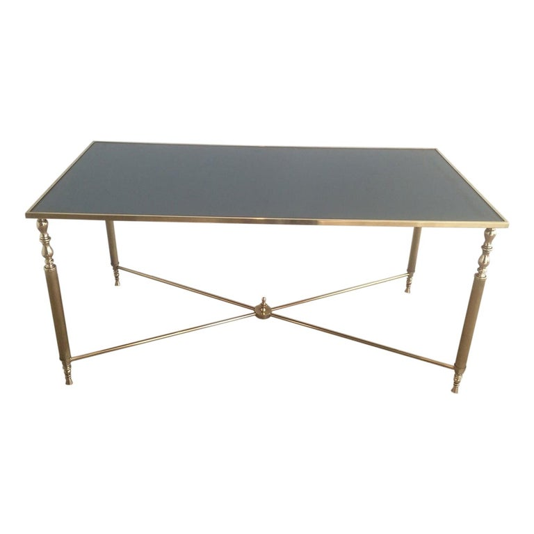 Style of Maison Jansen Brass Coffee Table with Original Blueish Mirror Top For Sale