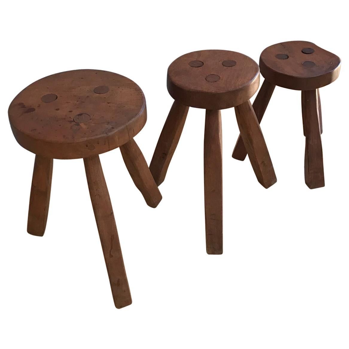 Style of Pierre Jeanneret Three Legged Round Stools Solid Wood, Set of 3