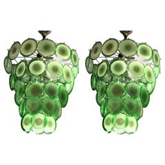 Style of Vistosi Pair of Circular Glass Sphere Chandeliers