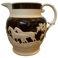 Style of Wedgwood or Adams 19th Century English Brown & Cream Earthenware Jug