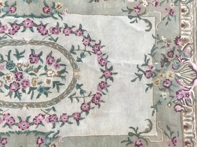 Aubusson Style Savonnerie Hand Tufted Rug For Sale