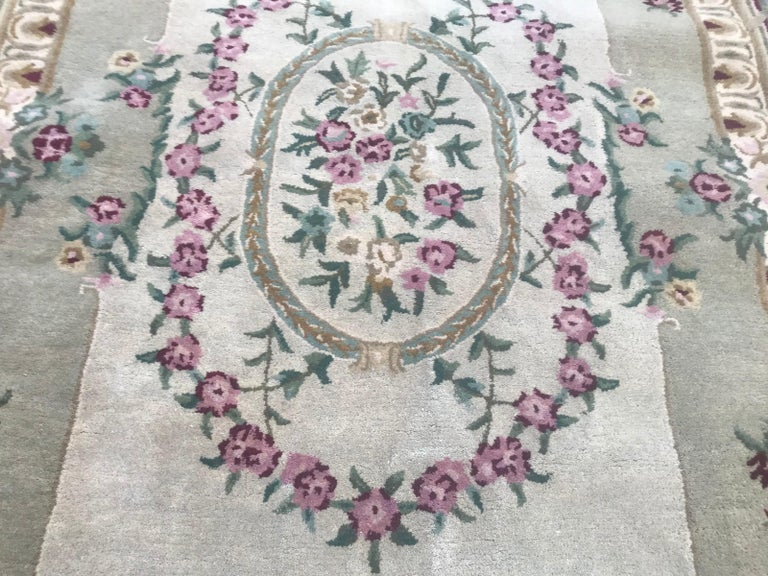 Indian Style Savonnerie Hand Tufted Rug For Sale