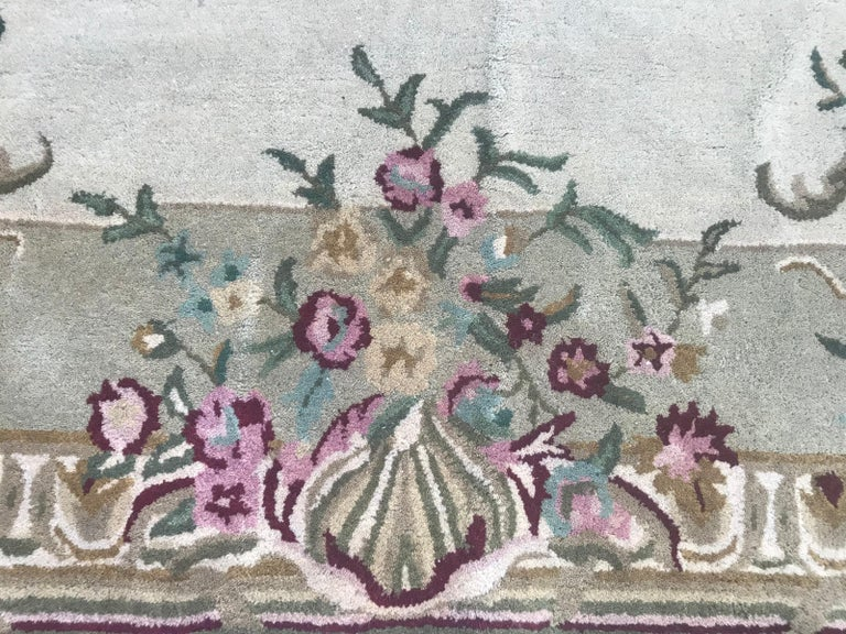 Hand-Crafted Style Savonnerie Hand Tufted Rug For Sale