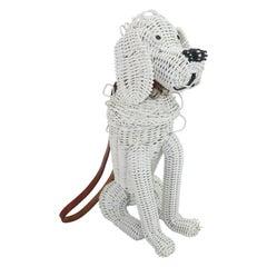 Stylecraft Miami White Wicker Poodle Dog Novelty Handbag, 1950's