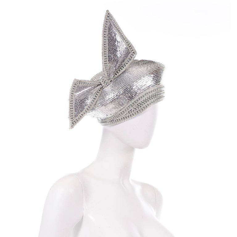 Styled By Jack McConnell Vintage Silver Beaded Hat Turban W Crystals & Giant Bow For Sale 1