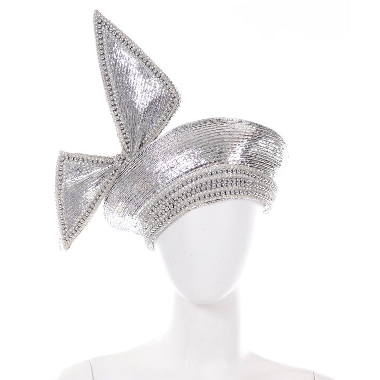 Styled By Jack McConnell Vintage Silver Beaded Hat Turban W Crystals & Giant Bow For Sale 2