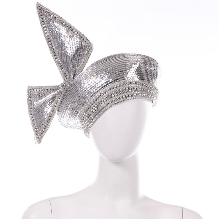 Styled By Jack McConnell Vintage Silver Beaded Hat Turban W Crystals & Giant Bow For Sale 3