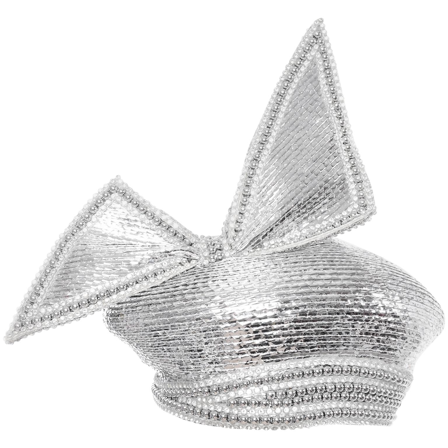 Styled By Jack McConnell Vintage Silver Beaded Hat Turban W Crystals & Giant Bow