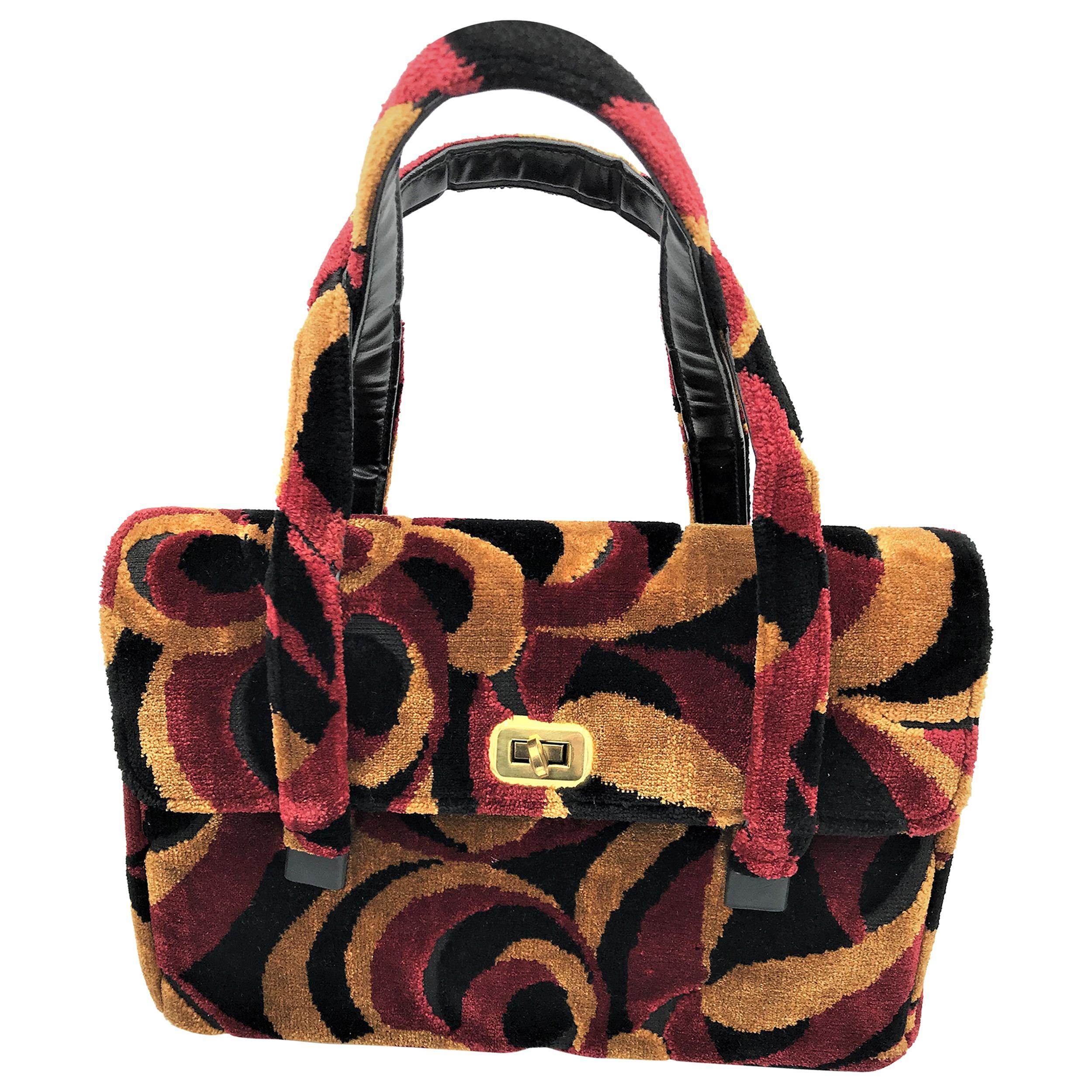 Stylisch velvet handbag from the 50s USA