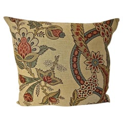Stylised Floral Linen Pillow, French, 19th Century