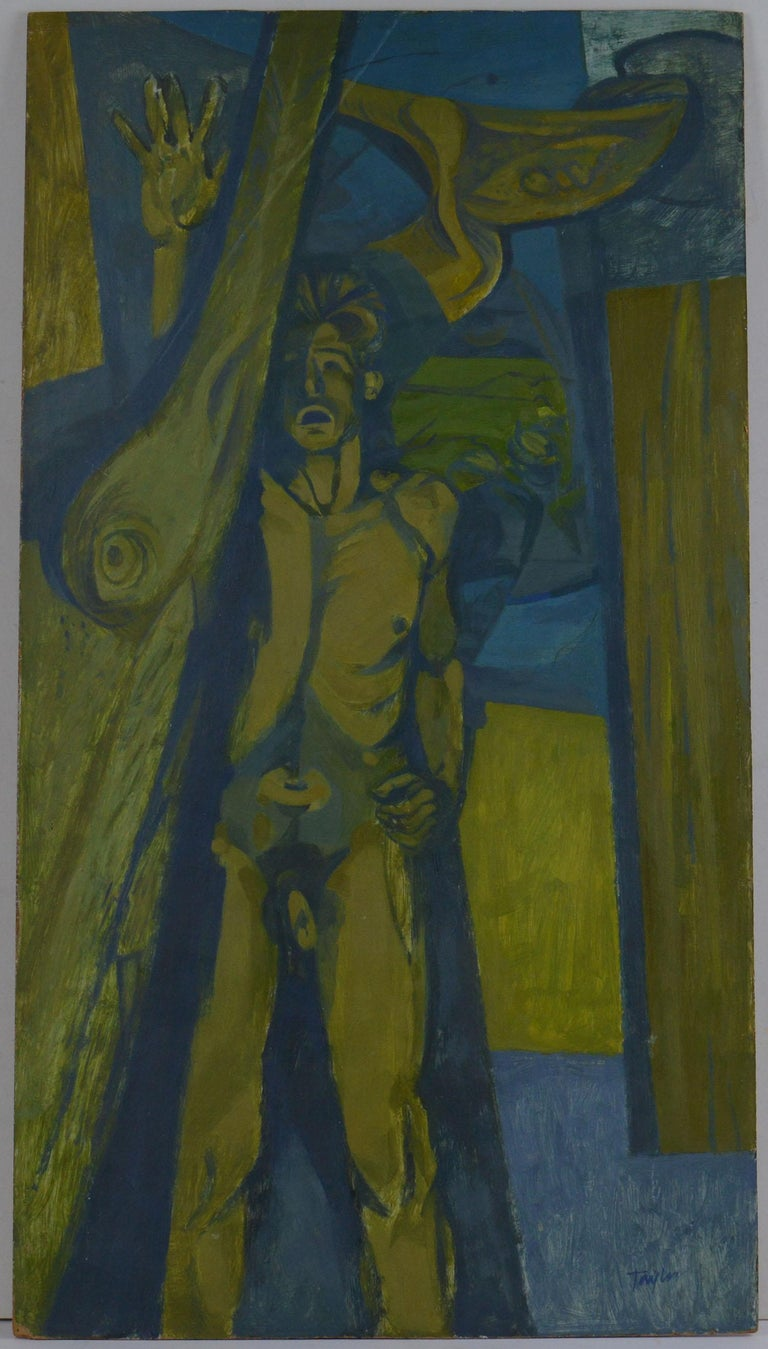 Great stylised male nude in the manner of Keith Vaughan  Oil on board.  Unframed  Signed bottom right.