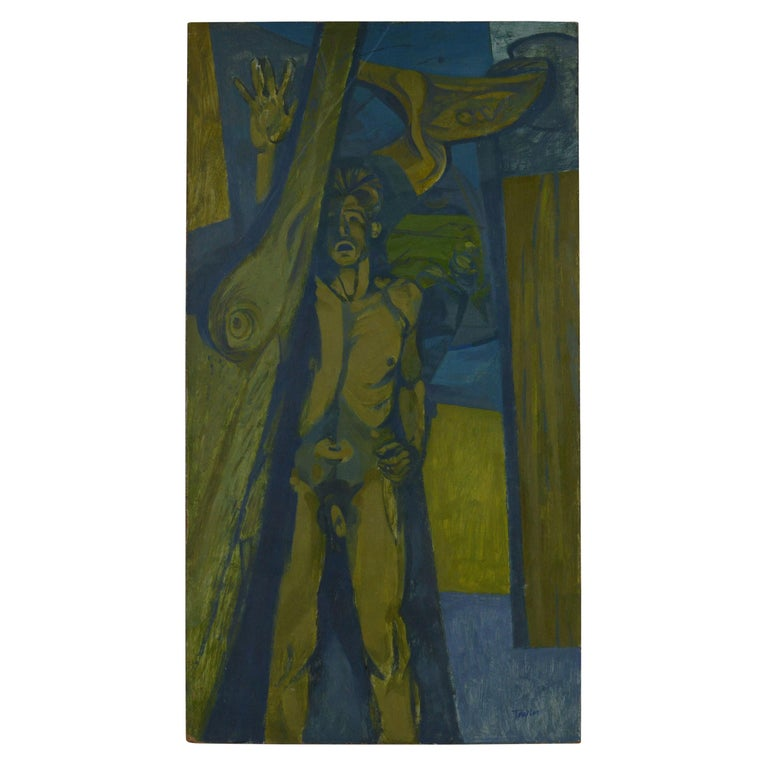Stylised Male Nude by A.C Taylor, 1950s For Sale