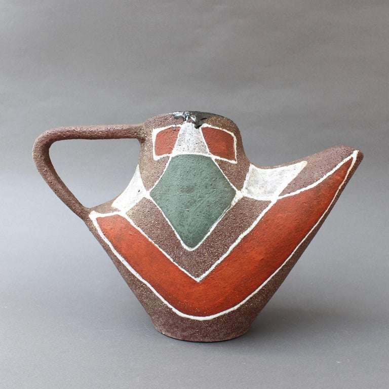 Stylised MidCentury Ceramic Watering Pot / Vase by Accolay, circa 1950s For Sale 4