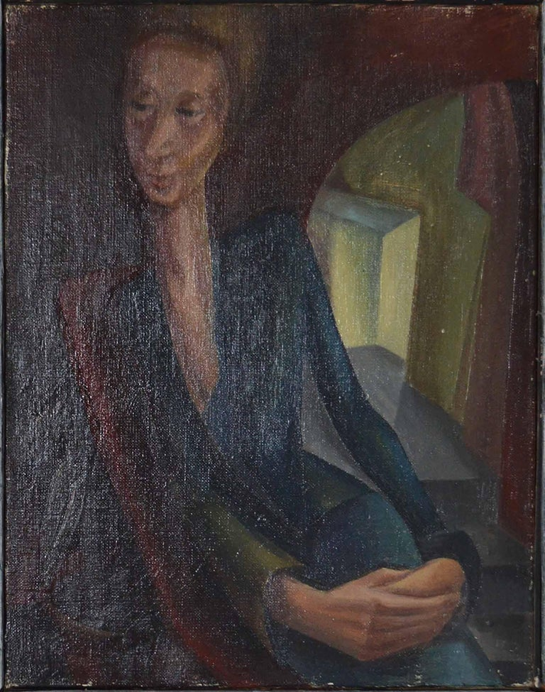 Wonderful image of a lady in an interior.  Oil on canvas, unsigned.  The artist is Iris Hardcastle. She is a Leeds/Bradford artist (North England) who worked in the 1940s. She has exhibited at the Bradford City Art Gallery.  The frame is