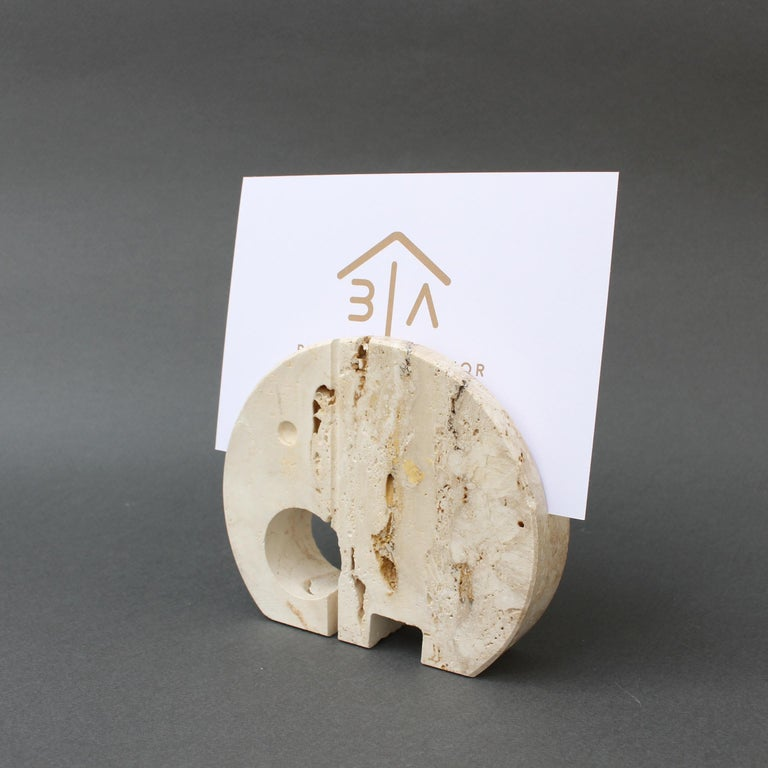 Stylised travertine elephant envelope holder by Mannelli brothers 'circa 1970s'. Designed by Italians, Fratelli Mannelli, this charming piece has loads of character and will delight art lovers and collectors. It is not only visually alluring with