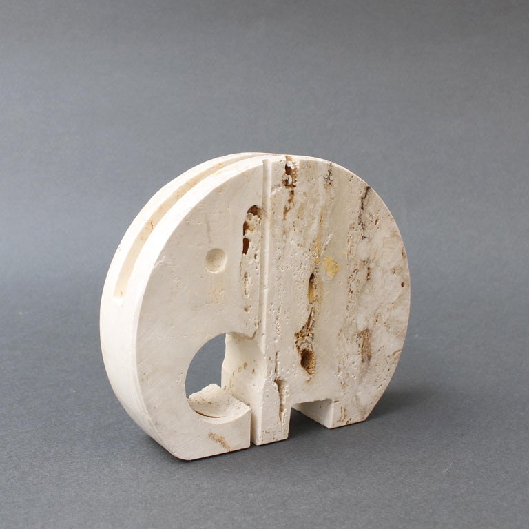 Italian Stylised Travertine Elephant Envelope Holder by Mannelli Brothers 'circa 1970s' For Sale