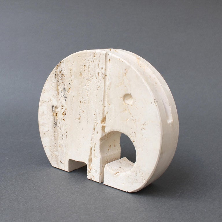 Late 20th Century Stylised Travertine Elephant Envelope Holder by Mannelli Brothers 'circa 1970s' For Sale