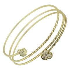 Stylish 14 Karat Yellow Gold Zirconia Flexible Bracelet for Her