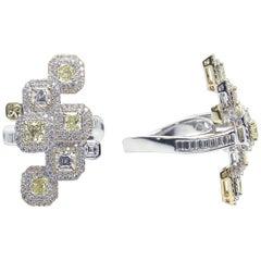 Stylish 18 Karat White and Yellow Gold, and Diamond Ring