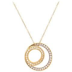 Stylish 18 Karat Yellow Gold Diamond Circles Pendant Necklace