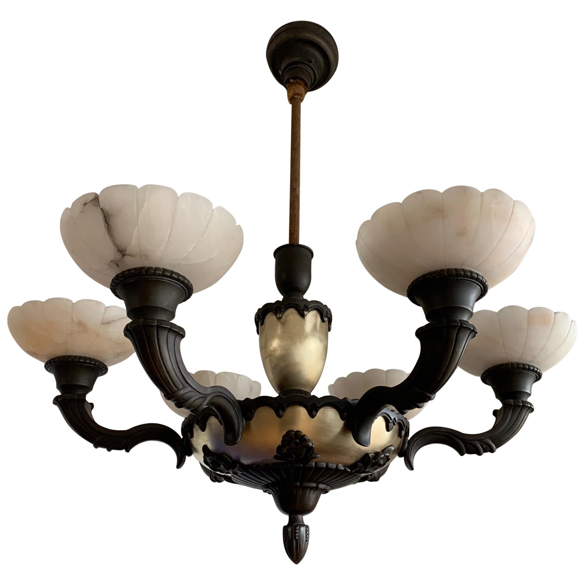 Stylish 1920s Art Deco White Alabaster and Bronze Arms Chandelier Light Fixture