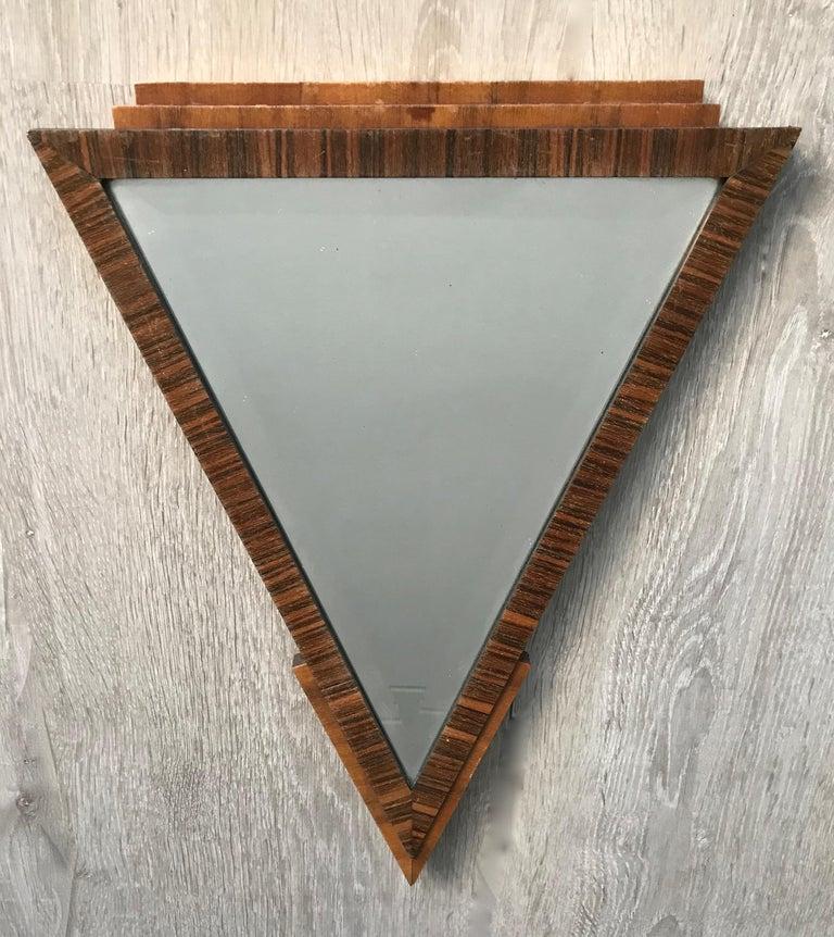 Dutch Stylish 1920s Triangle Shape Handcrafted Oak Macar Art Deco Wall Mirror