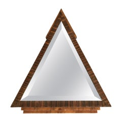 Stylish 1920s Triangle Shape & Handcrafted Oak & Macassar Art Deco Wall Mirror