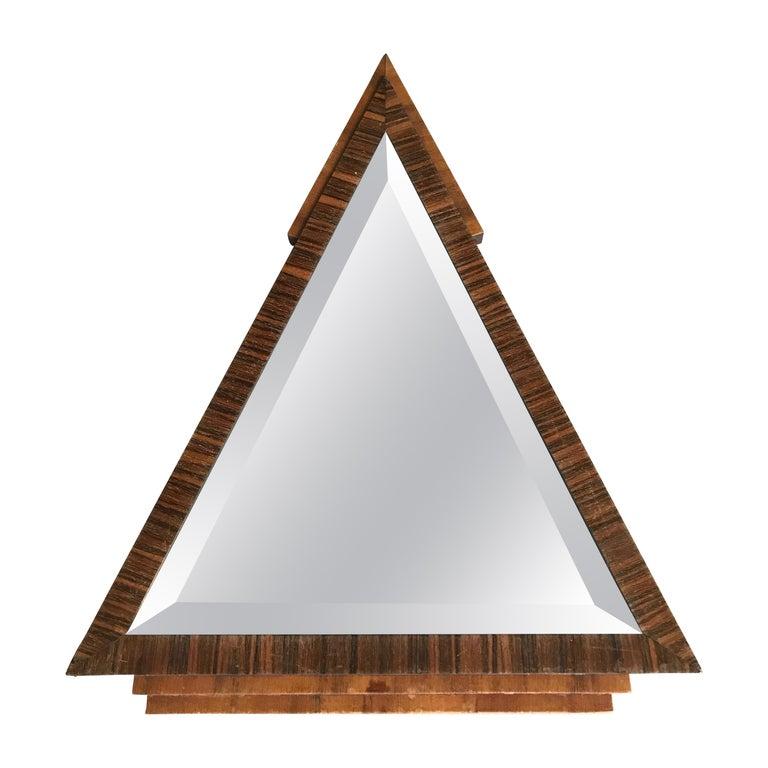 Stylish 1920s Triangle Shape Handcrafted Oak Macar Art Deco Wall Mirror
