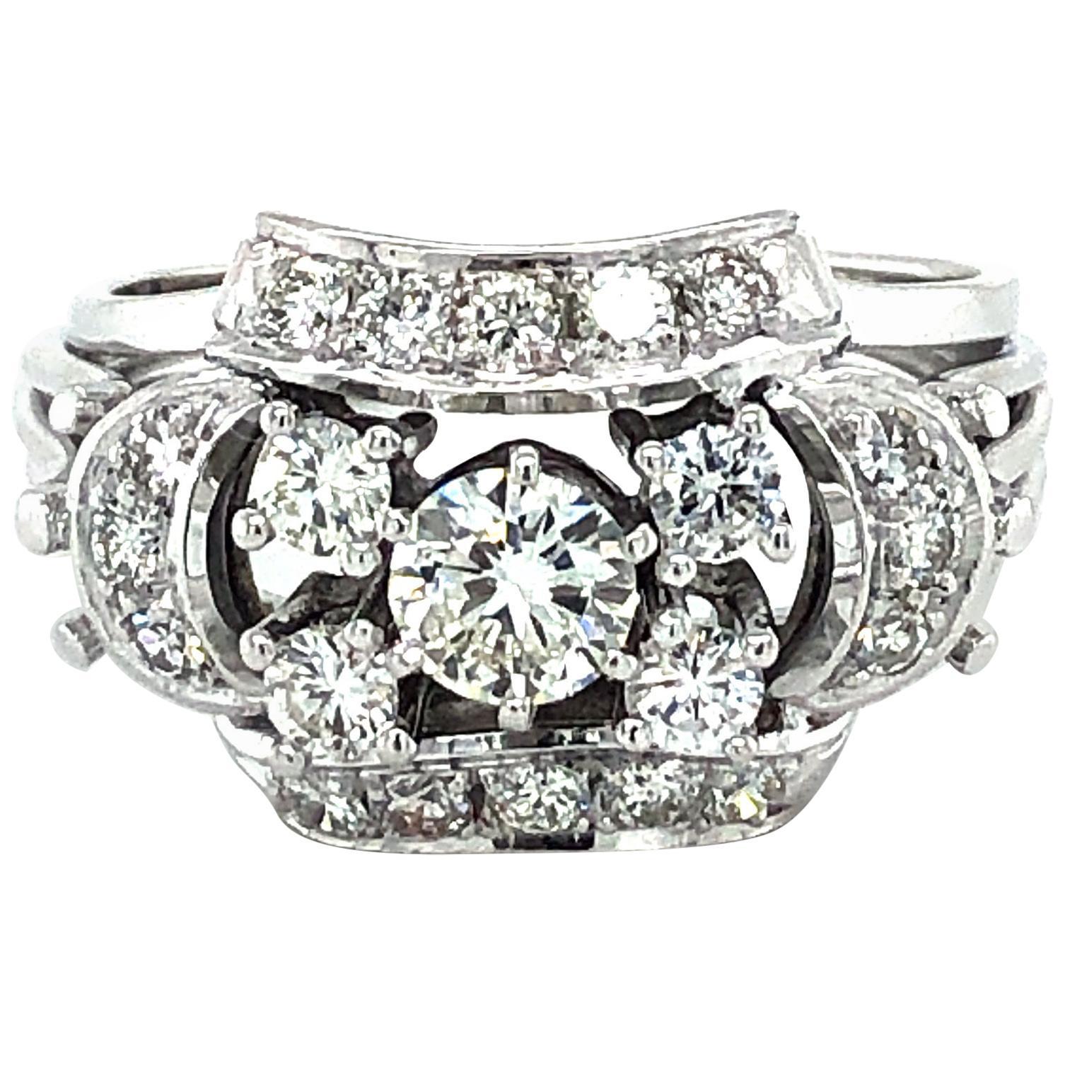 Stylish 1960s Diamond Ring in 18 Karat White Gold