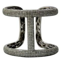 Stylish and Large White Gold Diamond Encrusted Cuff Bangle