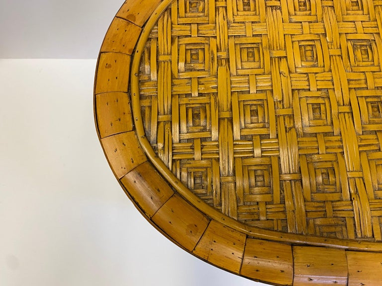 Philippine Stylish and Rare Form Rattan Martini or End Table For Sale