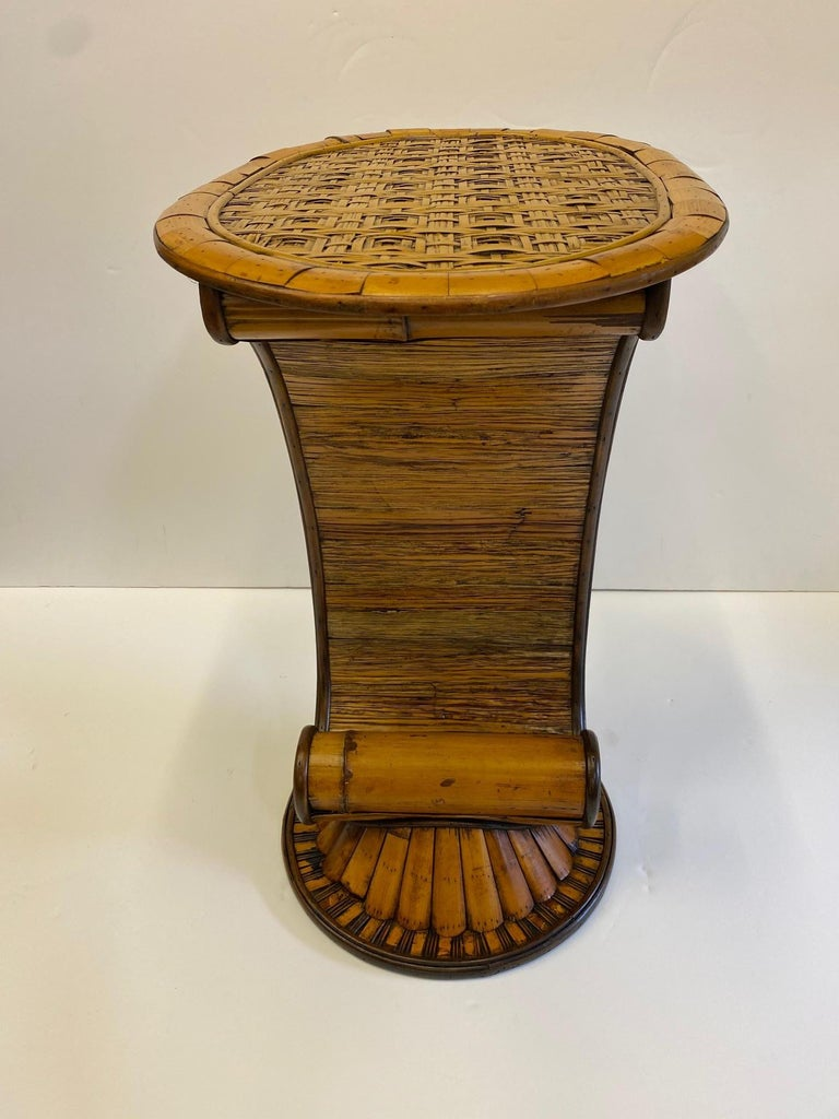 Stylish and Rare Form Rattan Martini or End Table For Sale 3