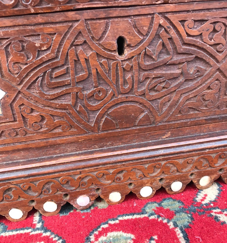 Stylish Antique Eastern Style Wooden Wall Hanging Cabinet with Intricate Details For Sale 10