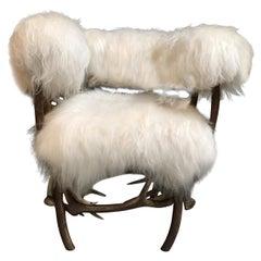 Stylish Antler Sheepskin Chair