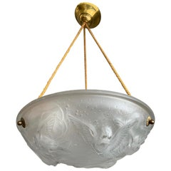 Stylish Art Deco Chandelier, Frosted Glass with Flying House Sparrows by Muller