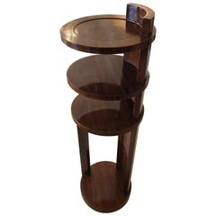 Stylish Art Deco Circular 4 Tier Rosewood Étagère End Table Stand