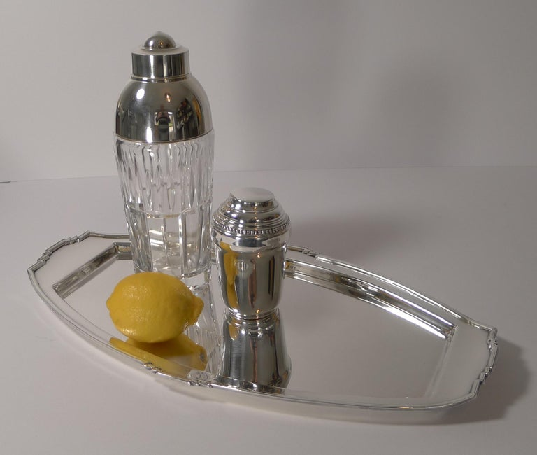 Stylish Art Deco Silver Plated Cocktail Tray, Reg. No. for 1933 For Sale 5