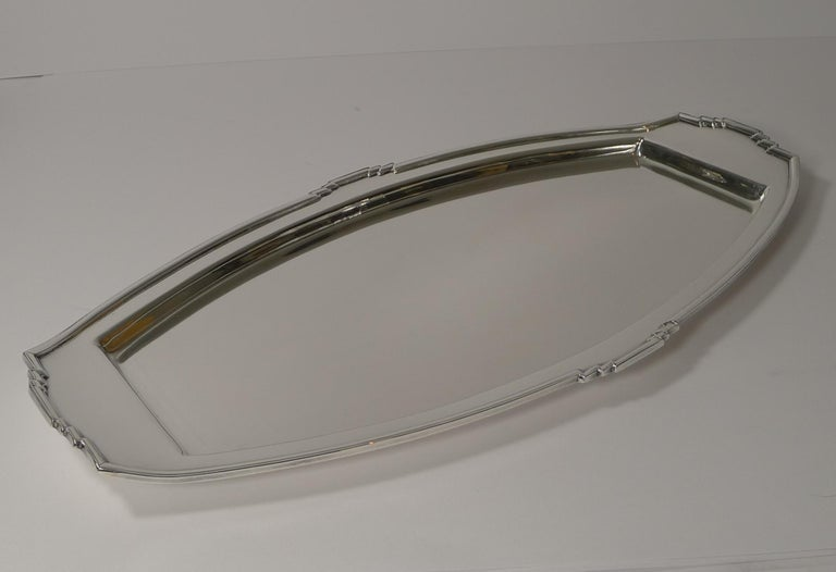 Stylish Art Deco Silver Plated Cocktail Tray, Reg. No. for 1933 In Good Condition For Sale In London, GB