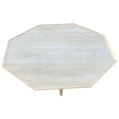 Stylish Midcentury Modern Octagonal Travertine Stone Coffee / Sofa Table, 1960