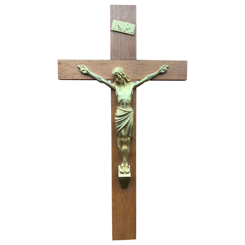 Stylish Art Deco Wall Crucifix Gilt Bronze Christ Corpus Mounted on a Oak Cross