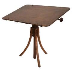 Stylish Artist Antique Oak Drawing Desk Drafting Table on Tripod Pedestal, 1920s